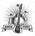 grunge monochrome rock festival poster design vector image vector image