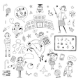 Hand drawn set for school design vector image