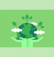 hands holding planet earth for environment care vector image vector image
