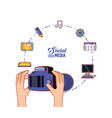hands with photographic camera and social media vector image