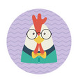 hipster chicken with glasses and bow tie vector image