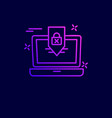 laptop cyber security icon with dark background vector image vector image