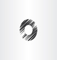 letter o black scratched icon vector image vector image