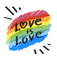 lgbt community simbol love is love slogan on vector image