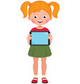 little happy cute girl in full growth holds a vector image vector image