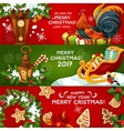 Merry Christmas and Happy New Year banner set vector image vector image