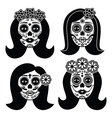 mexican la catrina - day dead girl skull vector image