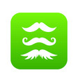moustaches icon digital green vector image