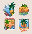 paradise palm tree cheerful badge collection vector image vector image