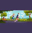 people running in park with smart watch cityscape vector image vector image