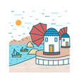 picturesque seaside scenery with boats or ships vector image