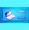 planning business horizontal banner with laptop vector image