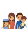 portrait family dad carrying son and mom daughter vector image