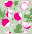 radish seamless pattern leaf flower harvest vector image