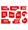 red stickers curled wrapped paper sticker set vector image