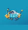 rhythm n blues music papercut musical icon design vector image vector image
