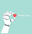 robotic hand with heart vector image
