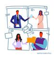 set businesspeople holding documents folder during vector image