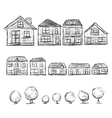 Set of hand drawn houses and trees vector image