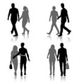 set silhouette man and woman walking hand in hand vector image vector image