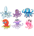 Six free-swimming creatures vector image vector image