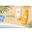 sunscreen cosmetic product ad concept card vector image vector image