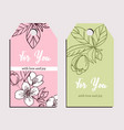 two elegand hand drawn cards with jasmin vector image
