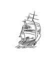 vintage sailboat icon hand drawn sketch vector image vector image
