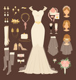 wedding fashion bride dress doodle style bridal vector image vector image