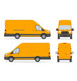 yellow cargo van for delivery goods in different vector image