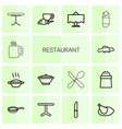 14 restaurant icons vector image vector image