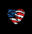 american flag in heart vector image vector image