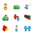 Ball game icons set cartoon style vector image vector image