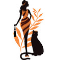 beautiful girl with a panther fashion woman vector image vector image