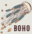 Boho background with jellyfish