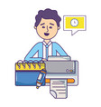 businessman and office vector image