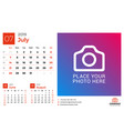 calendar for july 2019 design print template with vector image vector image