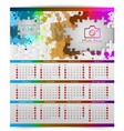 calendar of 2018 year with colorful puzzle pieces vector image