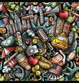 cartoon doodles new york seamless pattern vector image