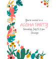 cocktail invitation with flowers birds and leaves vector image vector image