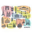 collection of europe detailed silhouettes set vector image vector image