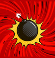 comic bomb explodes dynamite round cannonball vector image vector image