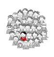 Crowd of people sketch for your design vector image