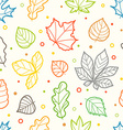 Different color leaves silhouettes seamless vector image vector image
