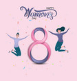 eight icon with pink happy international womens vector image