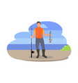 fishing fisherman with rod vector image vector image