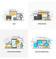 flat line designed concepts-colored vector image vector image