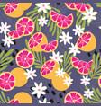 fruit seamless pattern grapefruit leaves flowers vector image vector image