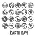 globe icons set world earth day card with globe vector image