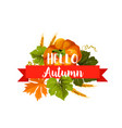 hello autumn icon with leaf and pumpkin vegetable vector image vector image